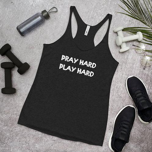 LUSU Designs Women's Racerback Tank Collection Pray Hard Play Hard Blanco Label