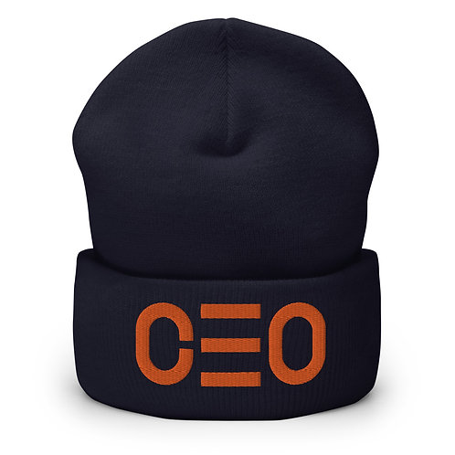 LUSU Designs Cuffed Beanie Collection CEO Tangerine Label