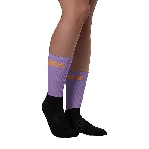LUSU Designs Sock Collection Blessed Tangerine Label Lt Purple