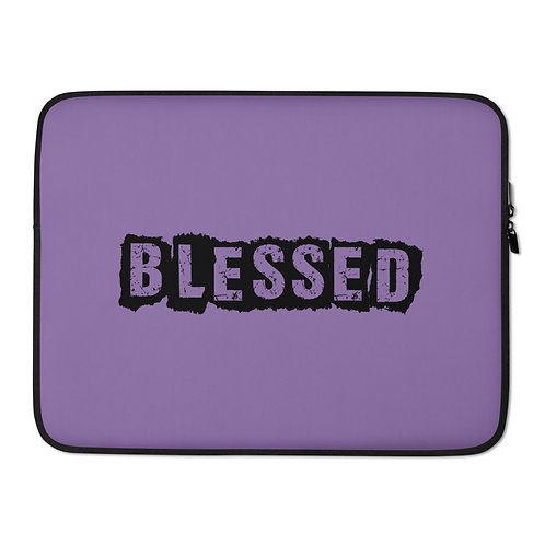LUSU Designs Laptop Sleeve Collection Blessed Noir Label Lt Purple
