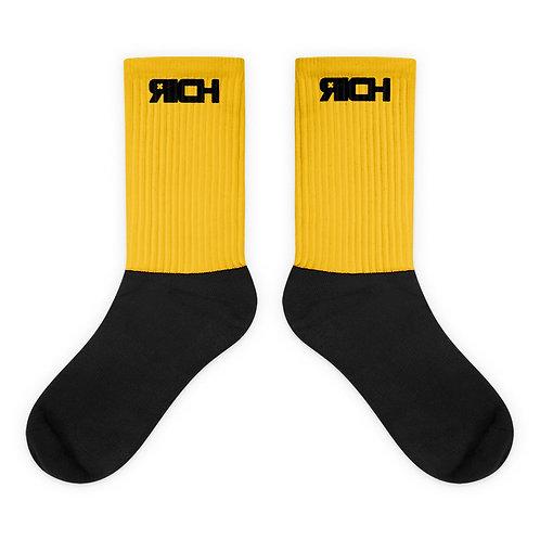 LUSU Designs Sock Collection RICH Noir Label Yellow