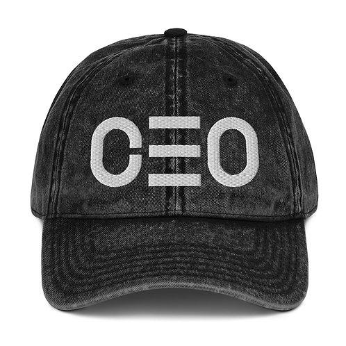 LUSU Designs Vintage Cotton Twill Cap CEO Blanco Label