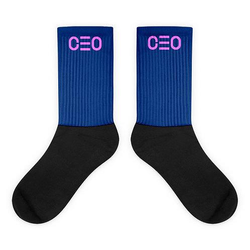 LUSU Designs Sock Collection CEO Flamingo Label Blue