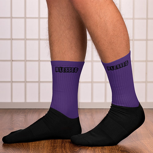 LUSU Designs Sock Collection Blessed Noir Label Purple