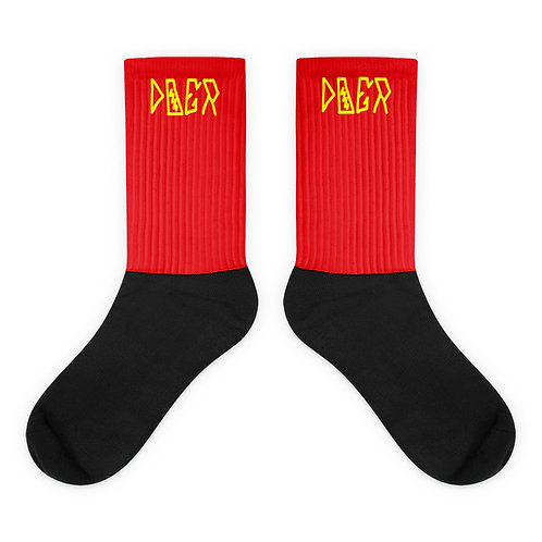 LUSU Designs Sock Collection Doer Canary Label Red