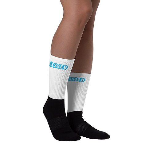 LUSU Designs Sock Collection Blessed Azure Label White