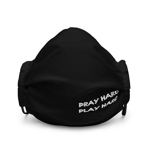 LUSU Designs Premium Face Mask Pray Hard Play Hard Blanco Label III