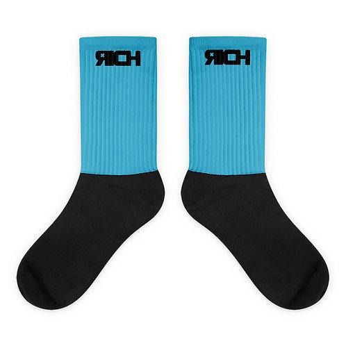 LUSU Designs Sock Collection RICH Noir Label Lt Blue