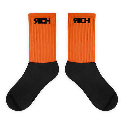 LUSU Designs Sock Collection RICH Noir Label Orange