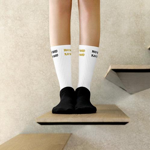 LUSU Designs Socks Collection Pray Hard Play Hard Combo Label