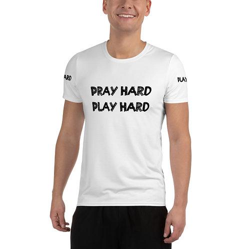 LUSU Designs Men's Athletic MaxDri T-shirt Pray Hard Play Hard Noir Label II