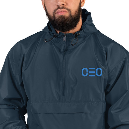 LUSU Designs Embroidered Packable Jacket Collection CEO Azure Label