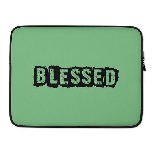 LUSU Designs Laptop Sleeve Collection Blessed Noir Label Green