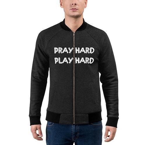LUSU Designs Bomber Jacket Collection Pray Hard Play Hard 2 Blanco Label