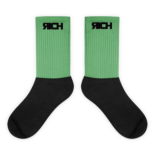 LUSU Designs Sock Collection RICH Noir Label Green