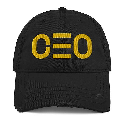 LUSU Designs Distressed Dad Hat CEO Blanco Label