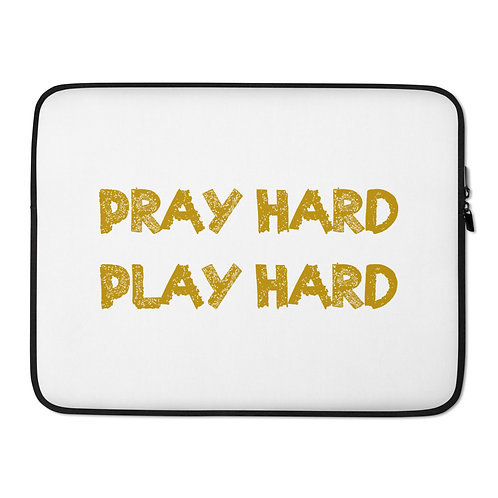 LUSU Designs Laptop Sleeve Collection Pray Hard Play Hard Midas Label White