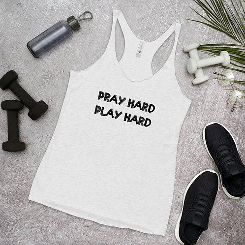LUSU Designs Women's Racerback Tank Collection Pray Hard Play Hard Noir Label