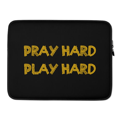 LUSU Designs Laptop Sleeve Collection Pray Hard Play Hard Midas Label Black