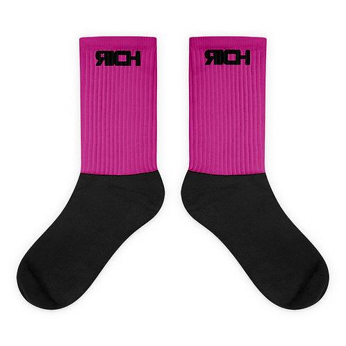 LUSU Designs Sock Collection RICH Noir Label Pink