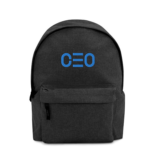 LUSU Designs Embroidered Backpack Collection CEO Aqua Label