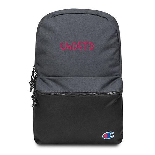 LUSU Designs Embroidered Champion Backpack UnDFTD Flamingo Label