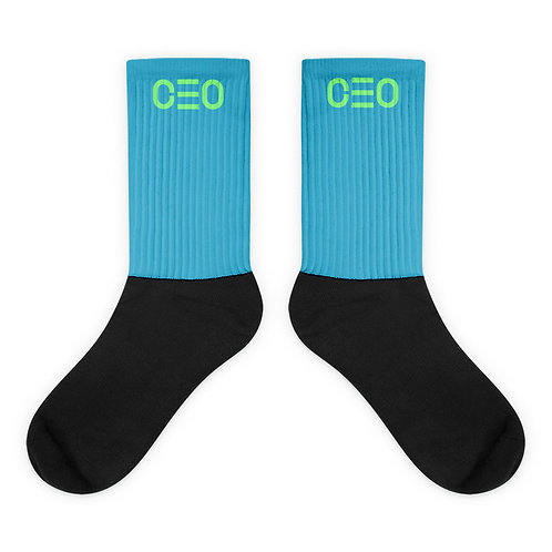 LUSU Designs Sock Collection CEO Lime Label Lt Blue