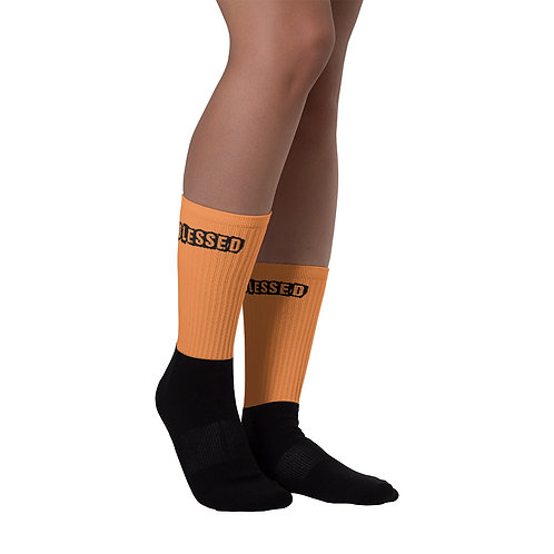 LUSU Designs Sock Collection Blessed Noir Label Orange