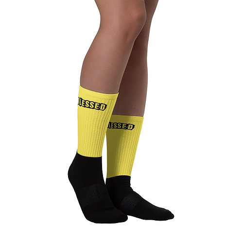 LUSU Designs Sock Collection Blessed Noir Label Yellow