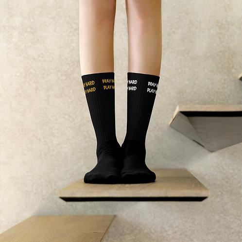 LUSU Designs Socks Collection Pray Hard Play Hard Combo Label III