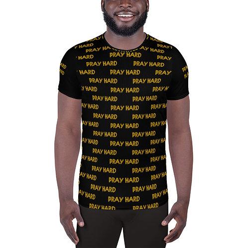 LUSU Designs Men's Athletic T-shirt Pray Hard Play Hard Midas Label IV