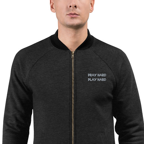 LUSU Designs Bomber Jacket Collection Pray Hard Play Hard Platinum Label