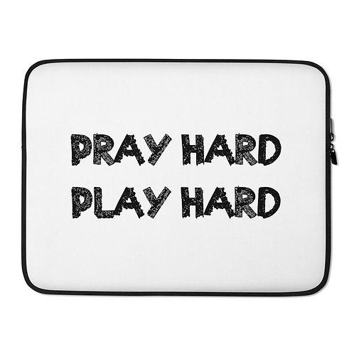 LUSU Designs Laptop Sleeve Collection Pray Hard Play Hard Noir Label White