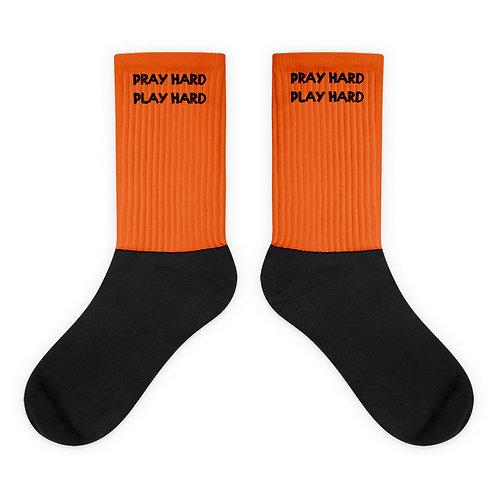 LUSU Designs Socks Collection Pray Hard Play Hard Noir Label III