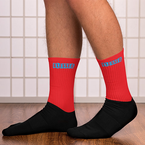 LUSU Designs Sock Collection Blessed Azure Label Red