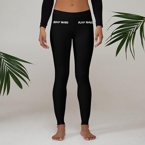 LUSU Designs Women's Leggings Pray Hard Play Hard Blanco Label III