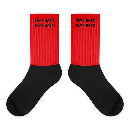 LUSU Designs Socks Collection Pray Hard Play Hard Noir Label II
