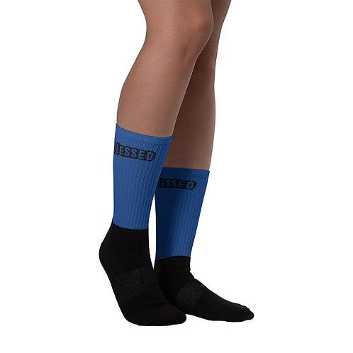 LUSU Designs Sock Collection Blessed Noir Label Blue