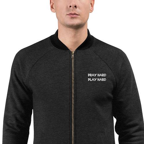 LUSU Designs Bomber Jacket Collection Pray Hard Play Hard Blanco Label