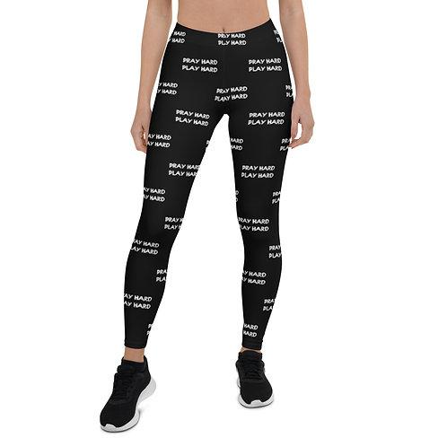 LUSU Designs Women's Leggings Pray Hard Play Hard Blanco Label IV