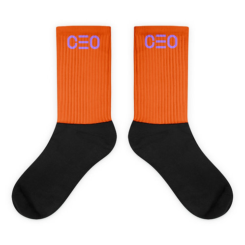 LUSU Designs Sock Collection CEO Lavender Label Orange