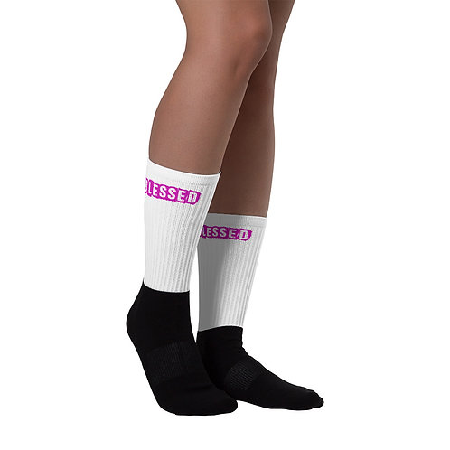 LUSU Designs Sock Collection Blessed Flamingo Label White