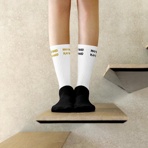 LUSU Designs Socks Collection Pray Hard Play Hard Combo Label II