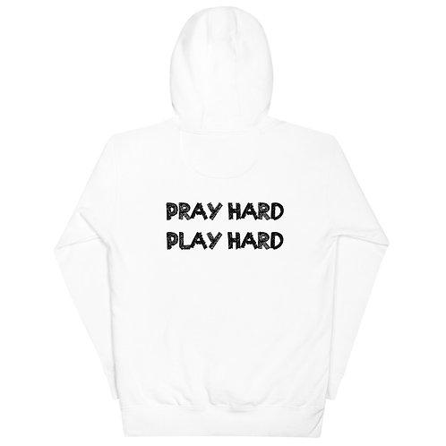LUSU Designs Unisex Hoodie Collection Pray Hard Play Hard Noir Label II