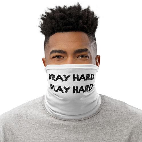 LUSU Designs Neck Gaiter Pray Hard Play Hard Label I