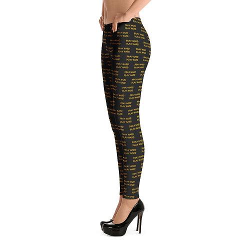 LUSU Designs Women's Leggings Pray Hard Play Hard Midas Label IV