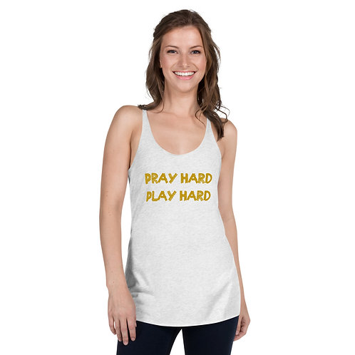 LUSU Designs Women's Racerback Tank Collection Pray Hard Play Hard Midas Label