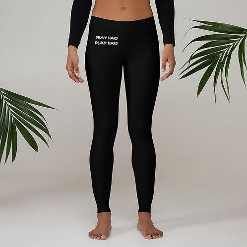 LUSU Designs Women's Leggings Pray Hard Play Hard Blanco Label II