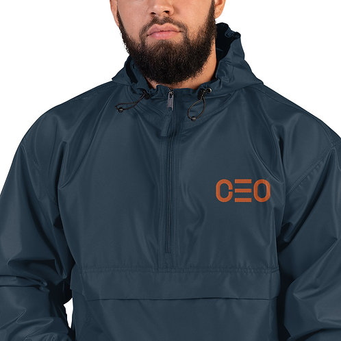 LUSU Designs Embroidered Packable Jacket Collection CEO Tangerine Label