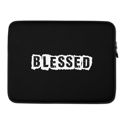 LUSU Designs Laptop Sleeve Collection Blessed Blanco Label Black